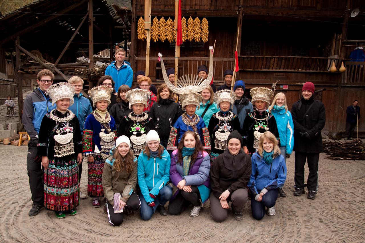 Hele klassen i Jidao-landsbyen
